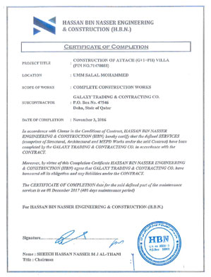Completion Certificate of 2 Villas
